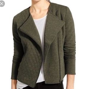 Athleta Belvedere Moto Jacket Olive Green